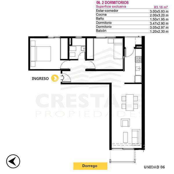 Venta departamento 2 dormitorios Rosario, zona Centro. Cod CBU9917 AP738205. Crestale Propiedades